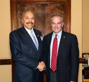 U.S. Senator Tim Kaine (right) with HU President Dr. William R. Harvey (left)