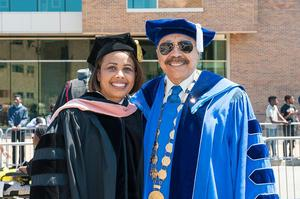 Hampton University President Dr. William R. Harvey with Rear Admiral Sylvia Trent-Adams, Acting United States Surgeon General, 2017 Outstanding Alumnus-at-Large Award winner.