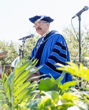 Hampton University President Dr. William R. Harvey addresses Class of 2017