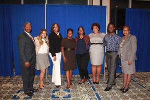 Dr. Arthur Affleck III, HU Associate VP for Development; Kalima Mayo-Perez, VP Human Capital Management Goldman & Sachs; Wendy Walker, VP Finance PEAK Campus; Nicole Pullen Ross, Managing Director Mid-Atlantic Region Head Goldman & Sachs; Dionne Rogers, VP/GM National Client Group American Express; Gena Pemberton, Sr. Finance Manager - Finance Recruiting Johnson & Johnson; Tiyale Hayes, Sr. VP Consumer Insights BET/Vicaom; Bessie Willis, HU Career Center Director (l to r).