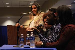 Tiyale Hayes addressing student audience