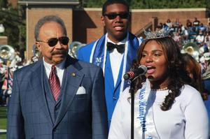 Dr. William R. Harvey, Hampton University President, with Miss Hampton 2016-17