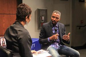 Louis Carr being interviewed by HU assistant professor, April Woodard.