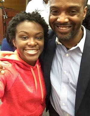 Dr. Sabin P. Duncan poses with Rhodes finalist J'Nyah Knox-Wilson