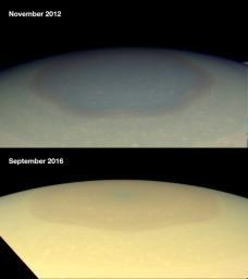 Two natural color images from NASA's Cassini spacecraft show the changing appearance of Saturn's north polar region between 2012 and 2016