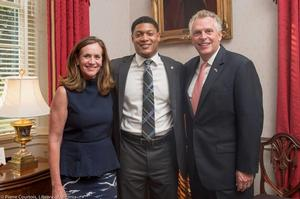 Miles Gordon poses with Governor McAuliffe and First Lady Dorothy McAuliffe