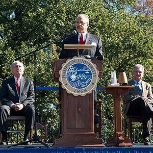 Dr. William R. Harvey, University President speaking at press conference
