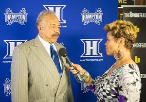 Hampton University President Dr. William R, Harvey interviewed on press row at 'From the 757 to the NFL'