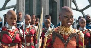 From left to right, Ayo (Florence Kasumba) and Okoye (Danai Gurira) with the Dora Milaje in Black Panther (Marvel)