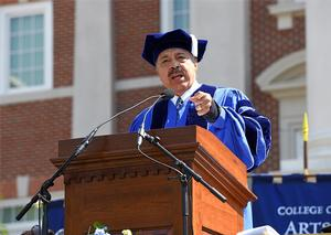 Dr. William R. Harvey delivers 2018 keynote address at Christopher Newport University commencement