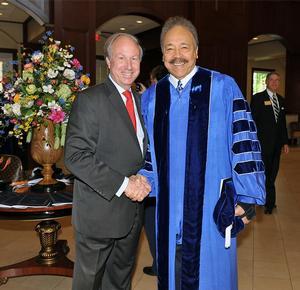 Christopher Newport University President  Paul Trible with Hampton University President Dr. William R. Harvey