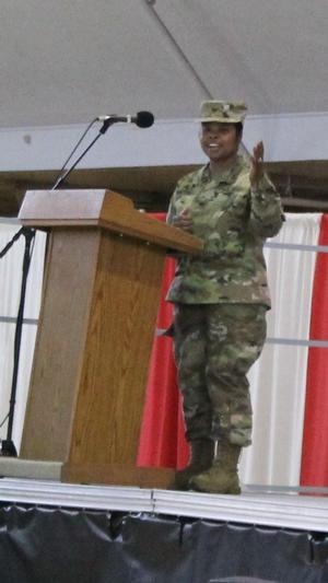 Birckhead delivers her remarks after accepting Commander of the Maryland Army National Guard