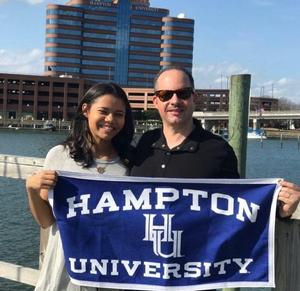 Hampton University alumnus Henry Bell ('91) poses with his daughter Hailey Bell, incoming freshman at HU.