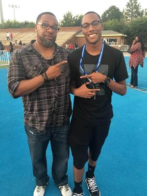 Hampton University alumnus Ted Caul ('91) poses with his son, incoming HU freshman Christian Caul.