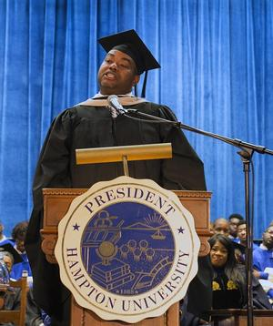 Hampton University Alumnus Calvin L. Butts ('02) delivering keynote address