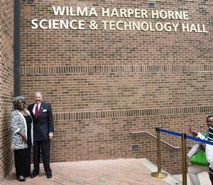 Dr. William R. Harvey with namesake Mrs. Wilma Harper Horne.
