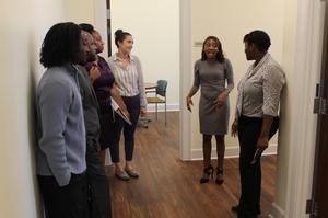 Morgan Russell, Director of the Student Success Center, leads a tour of the state of the art facility.