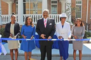 (l-to-r)Martha Baye, SGA President; Dr. Barbara Inman Vice President for Administrative Services; Dr. William R. Harvey, Hampton University President; Dr. JoAnn W. Haysbert - Hampton University Chancellor & Provost; Morgan Russell - Director of Hampton University Student Success Center officially open the Hampton University Student Success Center