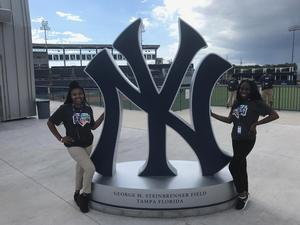 Ari'Elle Moore (left) and Erika Frazier, in St Petersburg Fla. for the 2nd annual Minor League Baseball Fostering Inclusion through Education and Leadership Development (FIELD) program. Both are sports management graduate students at Hampton University.