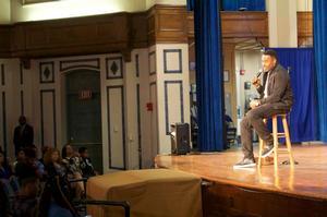 Lamman Rucker speaks to a capacity crowd at Ogden Hall.