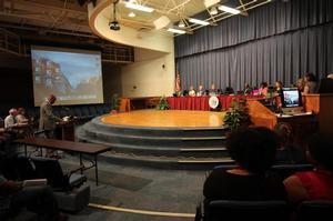 Dr. Otsebele E Nare, associate professor of Engineering, addresses Hampton City Council