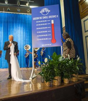 Hampton University President Dr. William R. Harvey and alumna Wilma Harper Horne unveil the Dream No Small Dreams II Campaign thermometer.