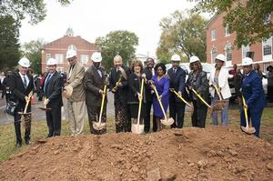 Dr. and Mrs. William R. Harvey join Talladega College administrators in the groundbreaking of the Dr. William R. Harvey Art Museum. Photo: Tucker Webb/ The Daily Home