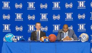 Hampton University Athletic Director Eugene Marshall (right) and Big South Conference Commissioner Kyle Kallander announce Hampton University's entrance into the Big South Conference, effective July 1, 2018