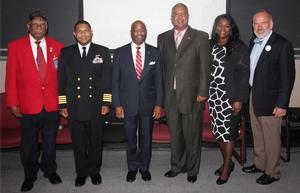 (Left to Right) Harry Quinton, William Booth, Paul Harris, Claude Vann III, Lillian Anita Dixon and Richard East - HU Veterans Day discussion panelists.