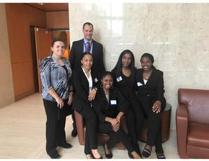 From left to right: Kayla Deschepper, Dr. Eric Lewallen, DeJuana Coleman, Brianne Jennings, Najah Lewter, Maissa Signate