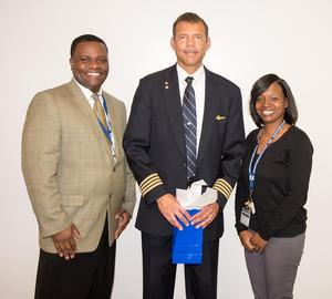 Mr. Julius Armstrong, Captain Ron Graves (United Airlines), and Ms. Nyota Baker