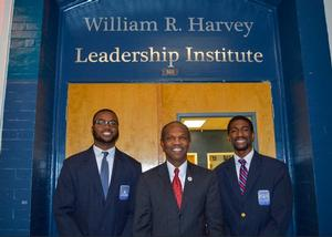 Mayor of Hampton, Donnie Tuck meets WRHLI Fellows Alton Benson and Aaron Ervin (l-r) before speaking during the Meet the Leaders Lecture Series