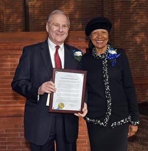 Presidential Citizenship Award recipient Judge Richard S. Bray and Dr. JoAnn Haysbert, Hampton University Chancellor and Provost, at the 126th Annual Founder's Day Ceremony.