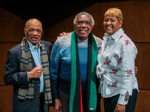 Professor Earl Caldwell, A. Peter Bailey, B. DàVida Plummer, Dean of the SHSJC
