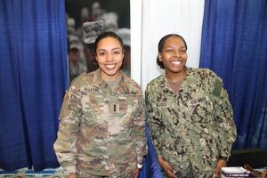 Cadet Alleyne and Midshipmen Bullock manned the ROTC booths.