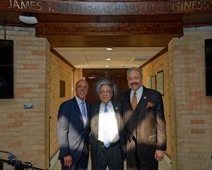 Chairman of the Board of Trustees, Wesley A. Coleman; Trustee James T. George; and Hampton University President, Dr. William R. Harvey