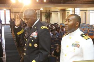 LTG Williams administered the oath the Army Lieutenants, and Captain (Select) Timothy Jones, Class of 1998, administered the oath to the Navy Ensigns.