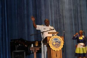 Captain Ed Poindexter, Public Health Service, Class of 1994, served as the speaker for the Nursing Pinning Ceremony