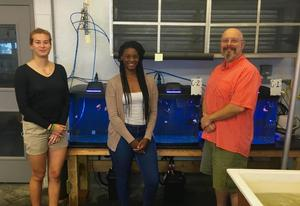 Dr. Andrij Horodysky, Ms. Kendra Dorsey (HU class of 2019) and Ms. Olivera Stojilovic (HU class of 2019) studying the effects of ocean acidification on clownfish at the Virginia Institute of Marine Science's Eastern Shore Laboratory (VIMS-ESL).