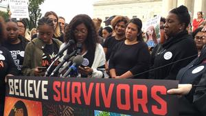 Kyla Wright speaking on Capitol Hill at a Survivors Rally