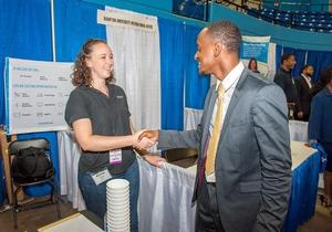 Students meet with potential employers at annual career fair