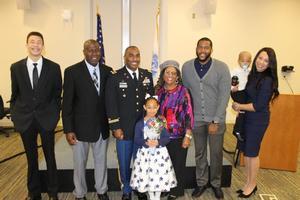 Javon, MSgt Cornelius, USAF Retired, LTC Cornelius, Dr. Cornelius, his brother, and MAJ Ravine Cornelius with Avon III in tow, and his daughter Kiana.