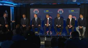 Sashi Brown (second from left) being introduced as the new Chief Planning and Operations Officer for Monumental Basketball along with other new hires at introductory press conference.