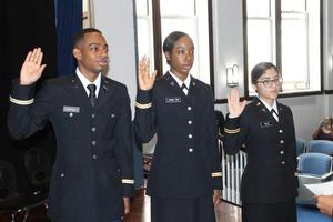 The oath of office was recited by our new Lieutenants.