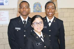 Cadets Ruiz, Campbell and Hamilton take this pre-commissioning photo