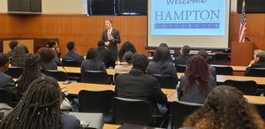 Governor Ralph Northam speaks with Hampton University students