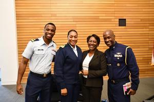 From left to right: LTJG Myles Durr (2015), CDR Keedah Ray (1999), Ms. Christy Coleman, and CAPT Michael E. Platt (1991).