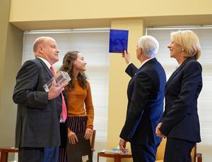 Vice President Pence and Sec. DeVos meet with HUPTI's Dr. Allan Thorton and HUPTI gradaute Kaylah Barney