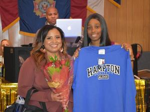 CPT Tiffany Tompkins, Class of 2010, celebrates with MAJ Hall.  Obviously Hampton University not far from their thoughts.
