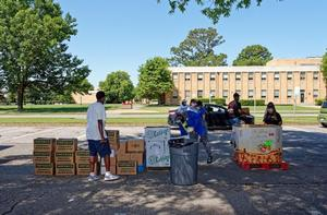 Food distribution provided by the Virginia Peninsula Foodbank.